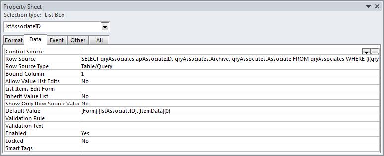 Set Default Value on List Box « Access    entials